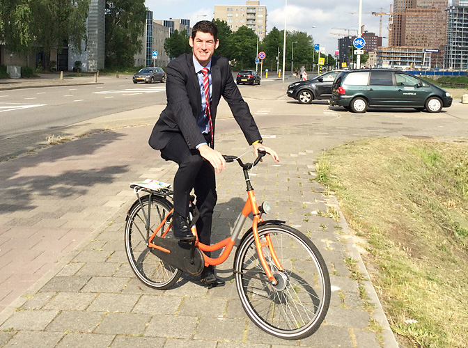 Cycling in a suit!