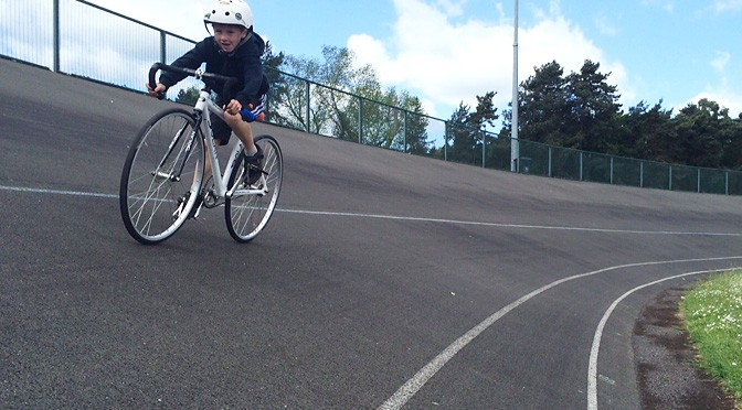 Trying out the track at Quibell Park Velodrome